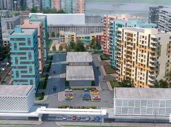 Высота домов до 13 этажей